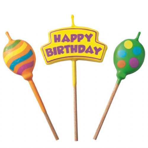 Candle Picks Happy Birthday 12cm 3's